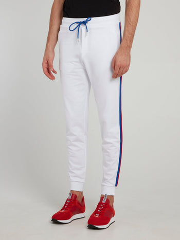 White Side Stripe Fleece Pants