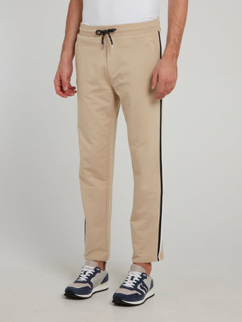 Beige Side Stripe Fleece Pants
