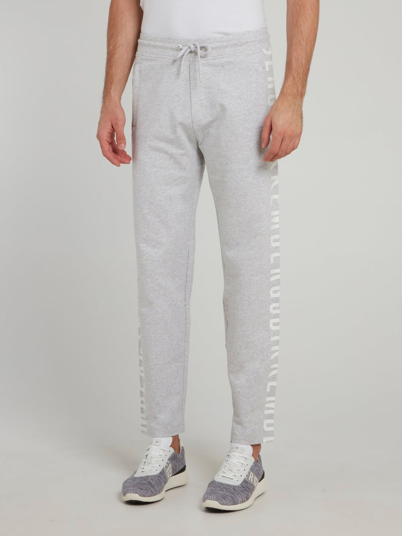 Grey Logo Side Stripe Fleece Pants