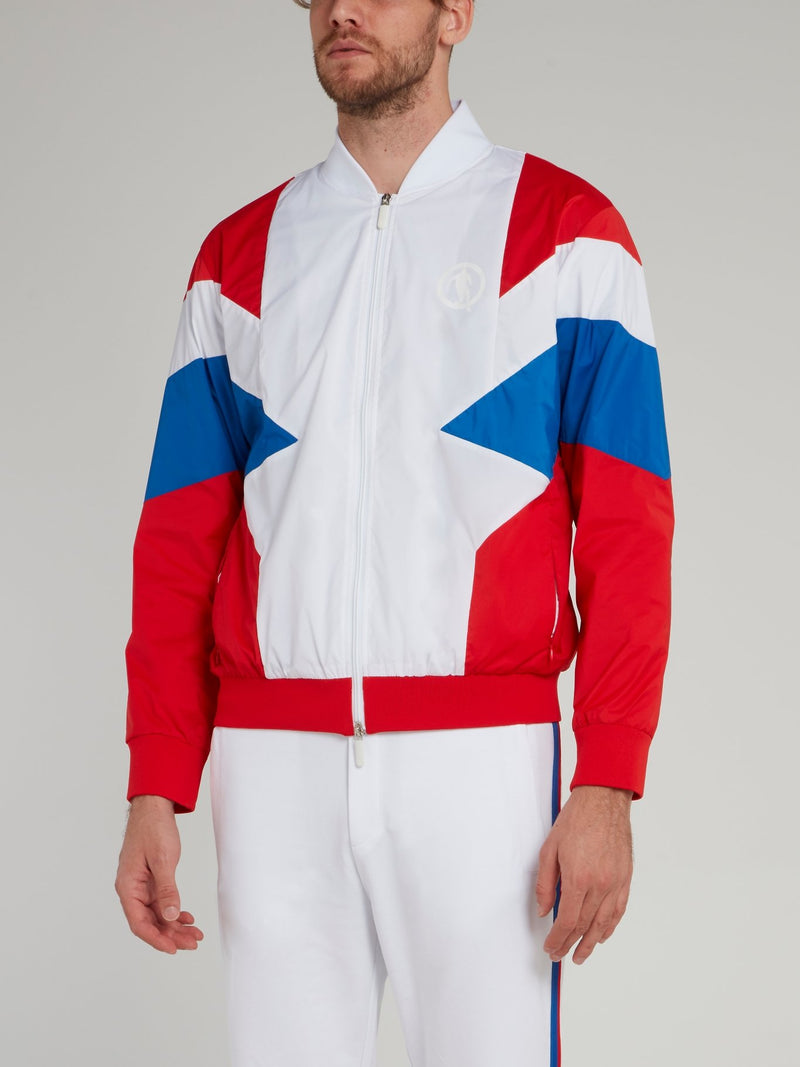White Colour Block Jacket