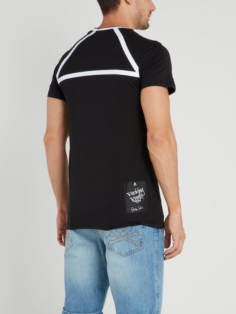 Black Striped Panel Logo T-Shirt
