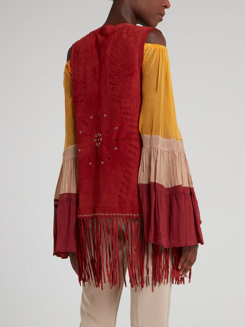Red Fringed Boho Gilet