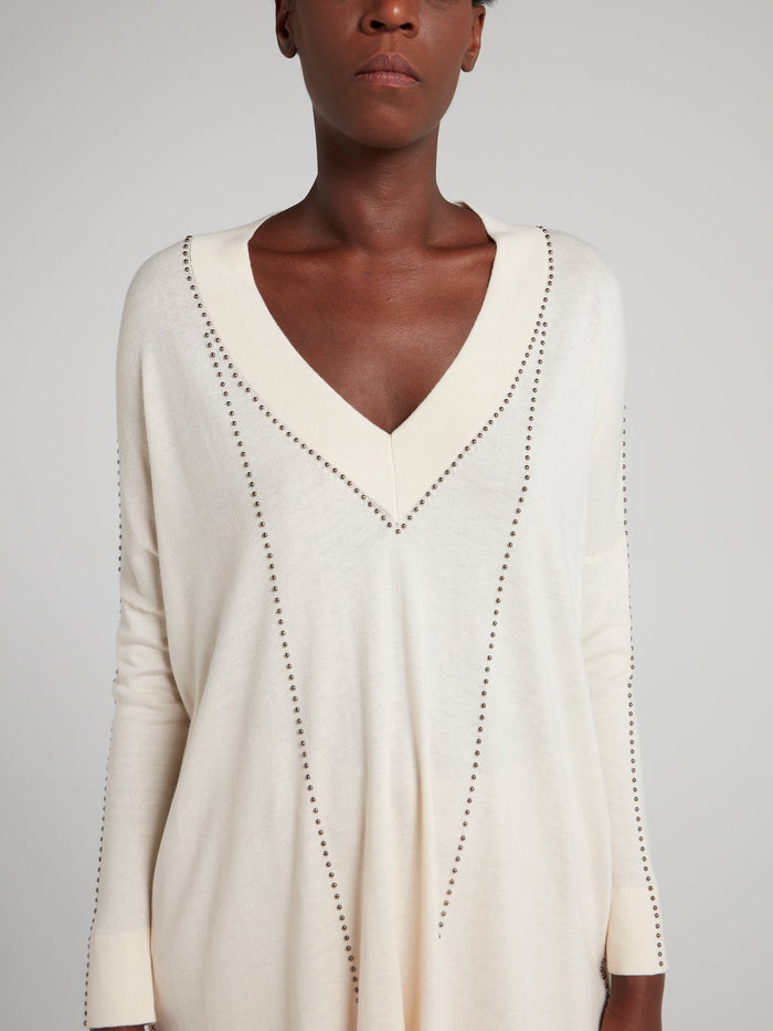 Studded V-Neck Trapeze Top