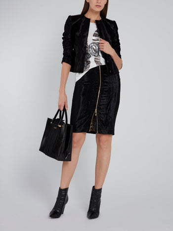 Black Zip Up Pencil Skirt