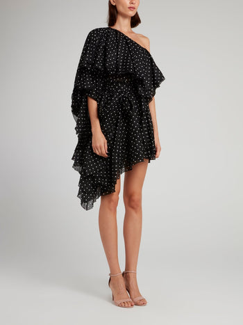 Black Asymmetric Polka Dot Mini Dress