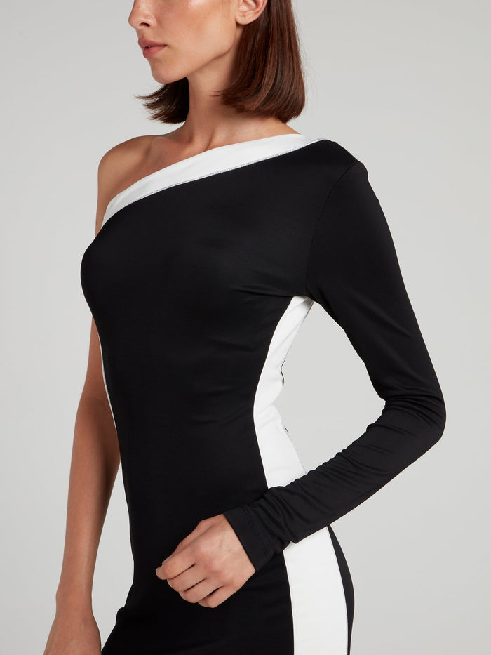 Two Tone One-Shoulder Dress