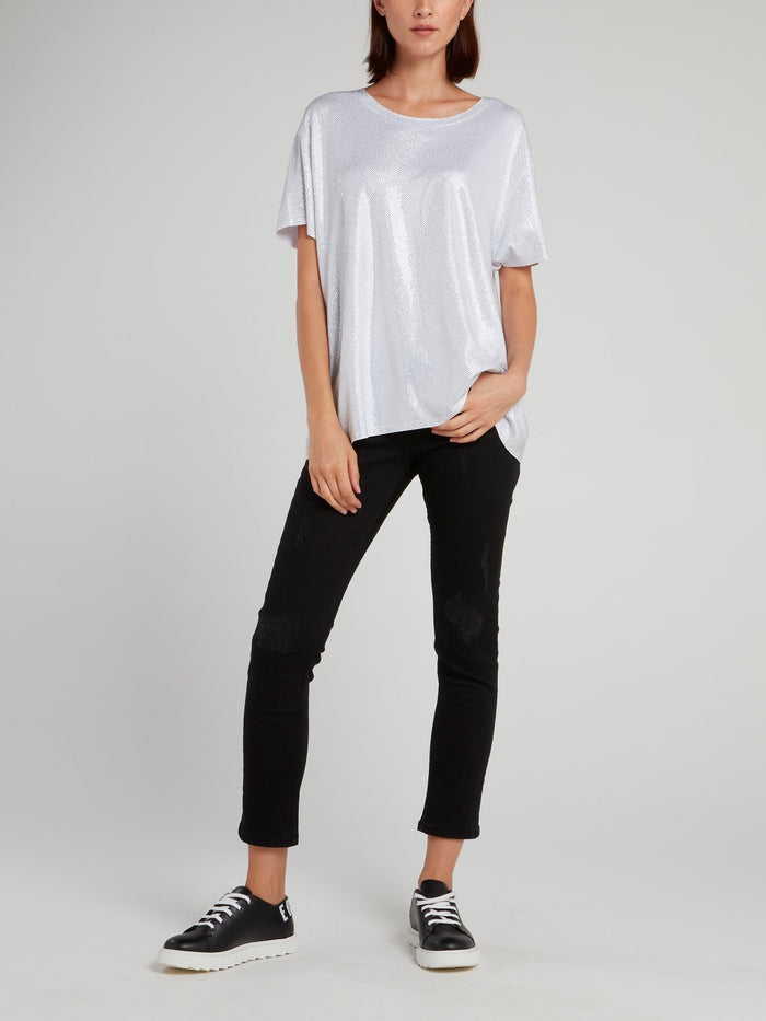 White Crystal Studded Shirt