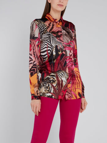 Pink Jungle Print Viscose Shirt