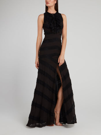 Black Lace Bib Maxi Dress
