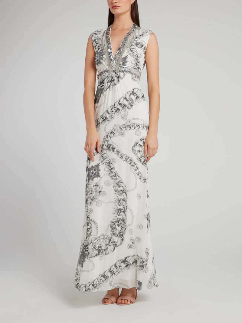 White Sequin Empire Waist Dress