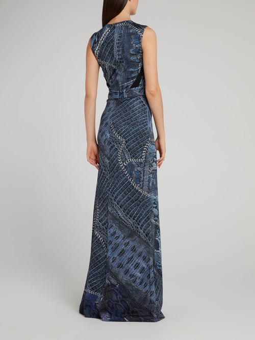 Navy Python Effect Maxi Dress