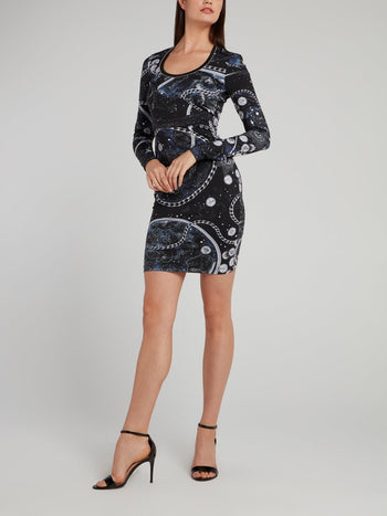 Printed Scoop Neck Sheath Dress