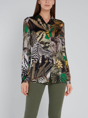 Jungle Print Viscose Shirt
