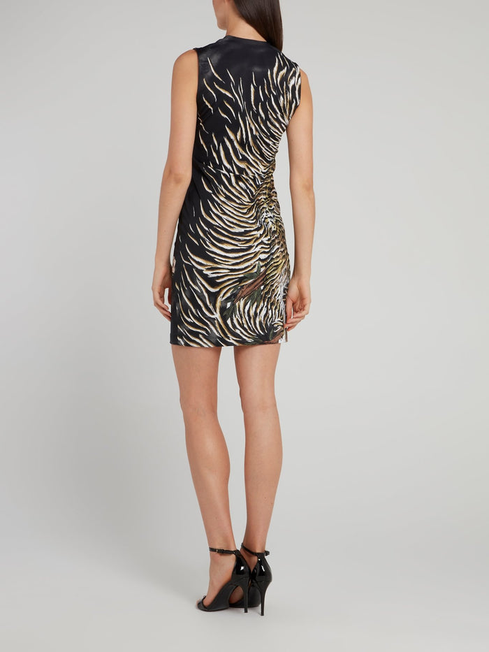 Black Tiger Print Mini Dress