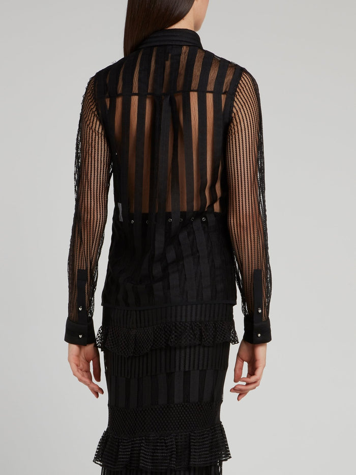 Black Net Mesh Long Sleeve Shirt