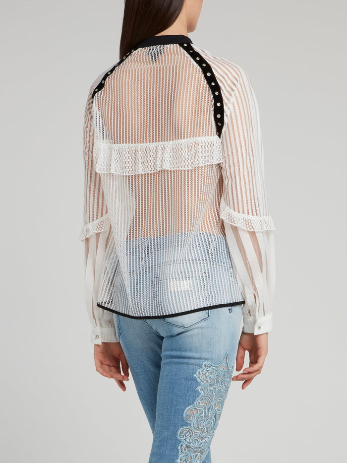 White Net Mesh Lace Up Shirt