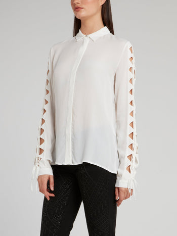 White Cut Out Sleeve Shirt