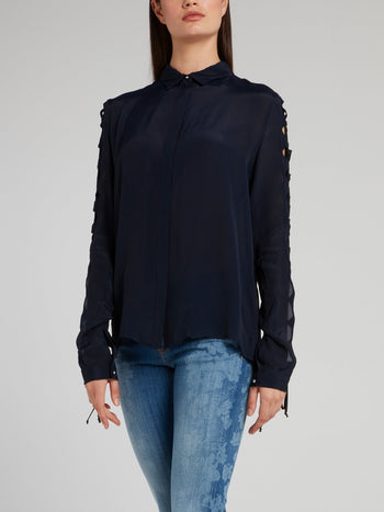 Navy Cut Out Sleeve Shirt