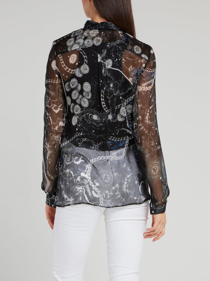 Space Print Chiffon Shirt