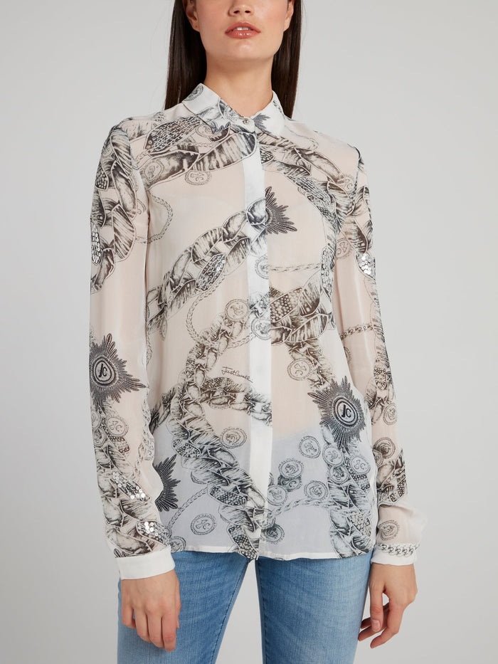 White Chain Print Chiffon Shirt