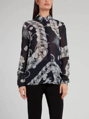 Navy Chain Print Chiffon Shirt