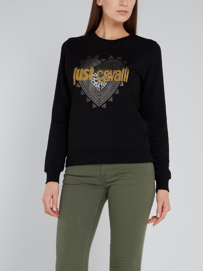 Black Embellished Logo Sweatshirt