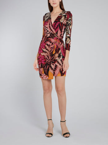 Pink Tropical Print Wrap Dress