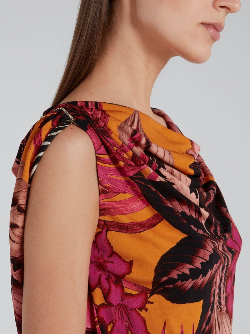 Tropical Print Draped Mini Dress