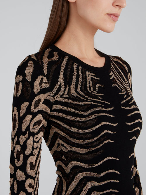Animal Print Bodycon Knit Dress