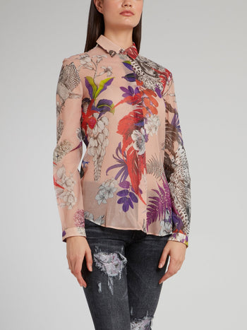 Beige Flora and Fauna Shirt