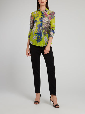 Chartreuse Flora and Fauna Shirt