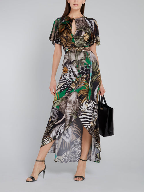 Tropical Print High-Low Maxi Dress