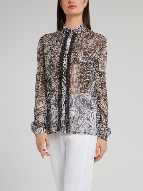 Sketch Print Long Sleeve Shirt
