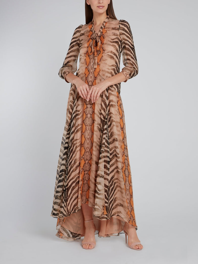 Beige Animal Print Tent Silk Dress