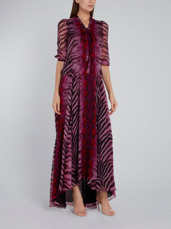 Purple Animal Print Tent Silk Dress