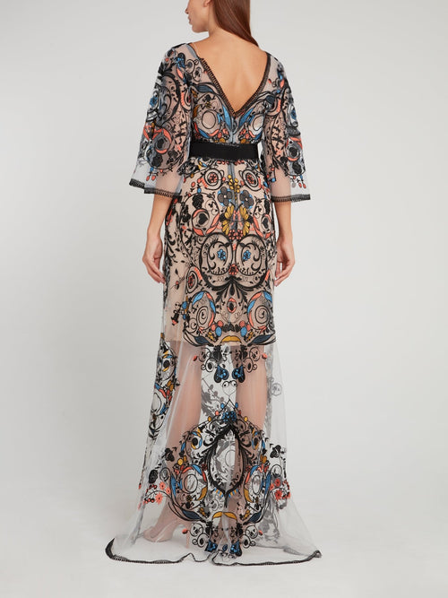 Mesh Overlay Butterfly Sleeve Maxi Dress