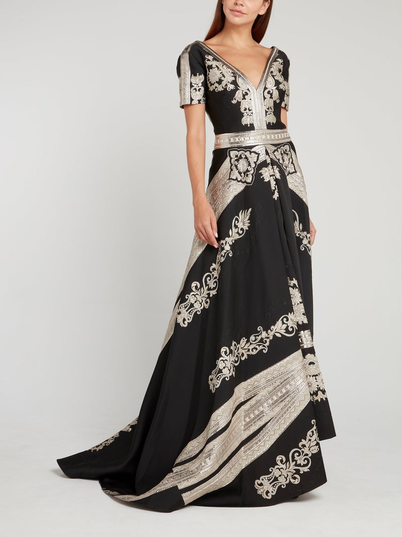 Black Metallic Print Maxi Dress