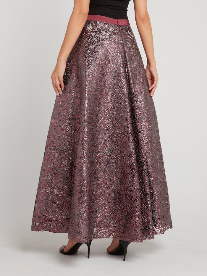 Purple Baroque Mesh Maxi Skirt