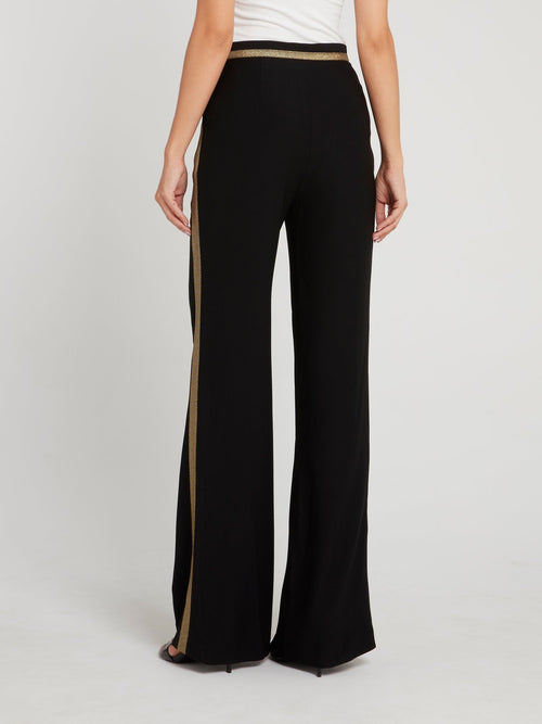 Black with Gold Tape Flared Pants