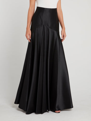 Black High Waist Flared Maxi Skirt