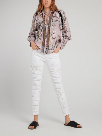 Pink Snake Floral Lace Up Shirt