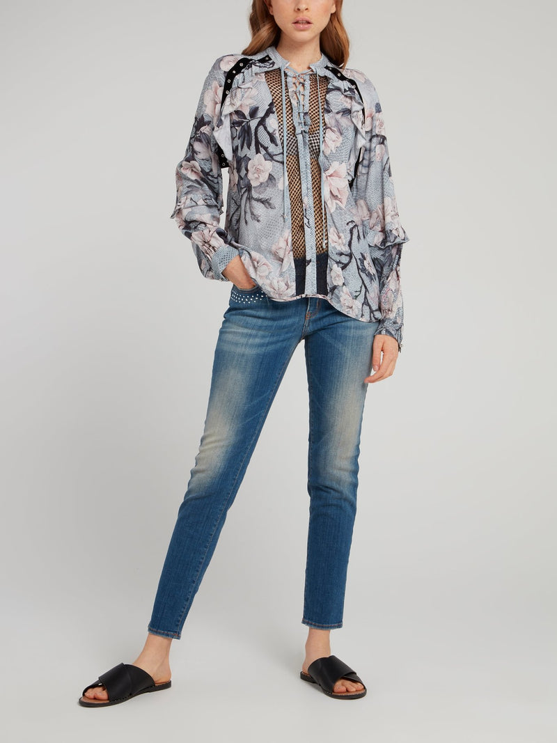 Snake Floral Lace Up Shirt