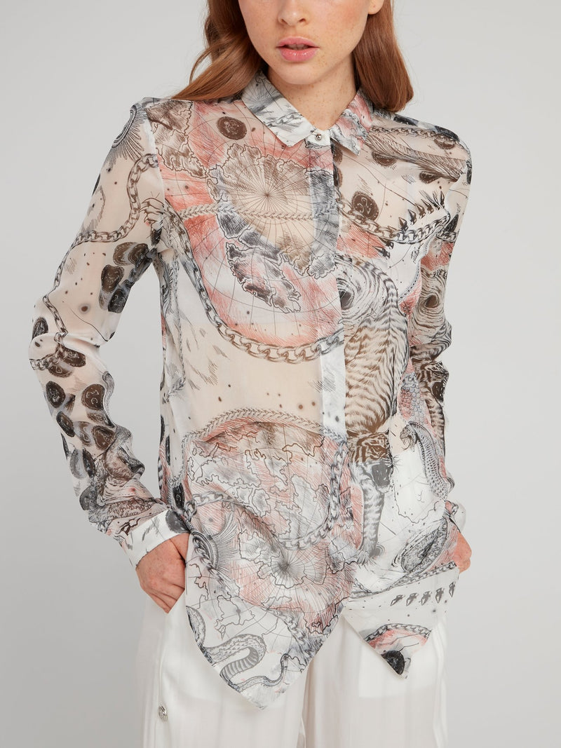 Map Print Chiffon Blouse