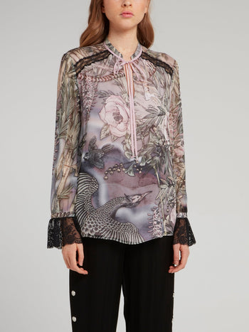 Floral Lace Panel Chiffon Shirt