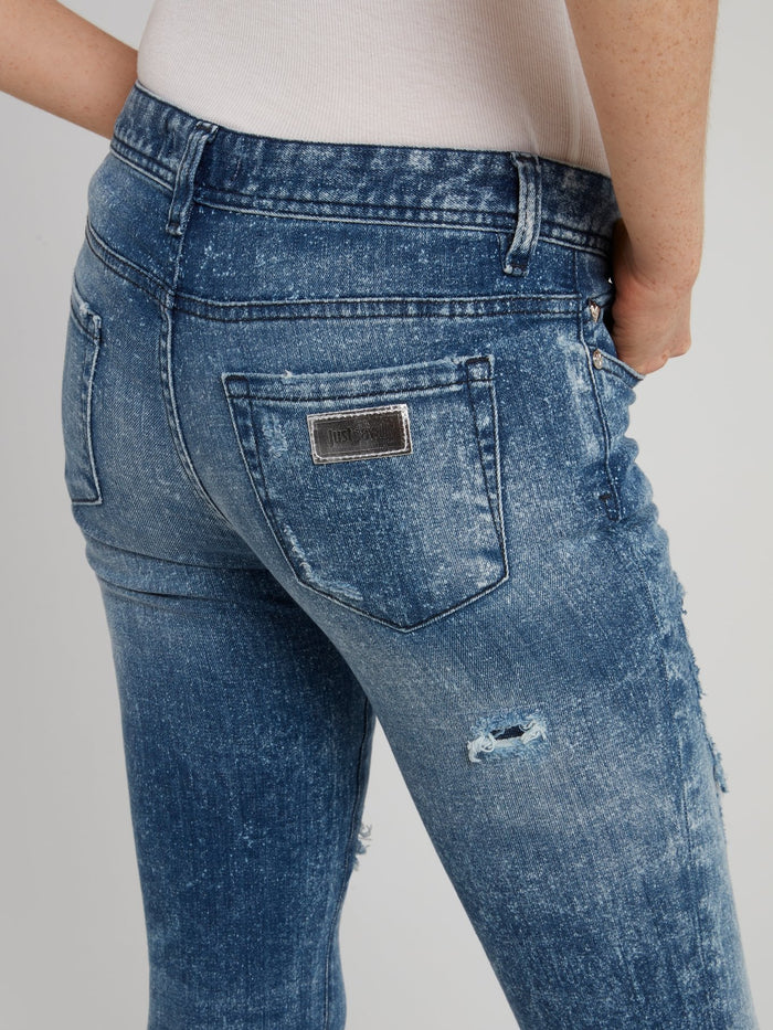 Blue Wash Distressed Jeans