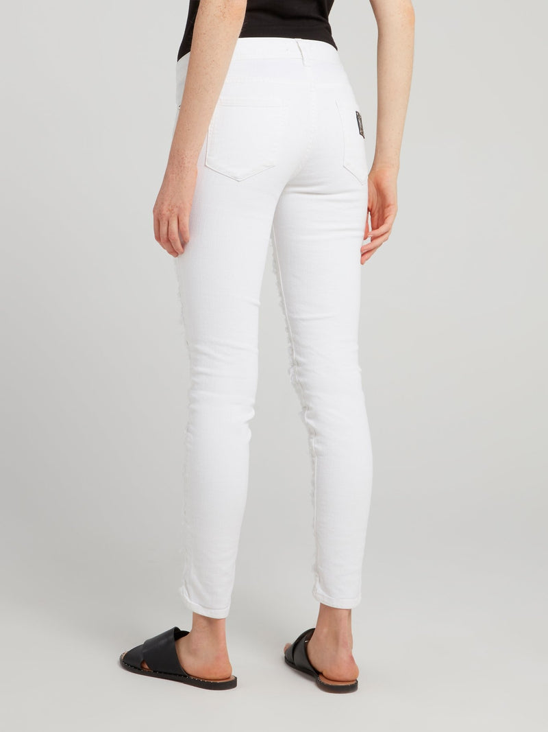 White Tattered Skinny Jeans