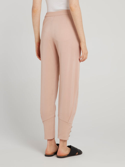 Beige Cuffed Tapered Pants