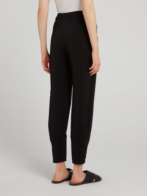 Black Cuffed Tapered Pants