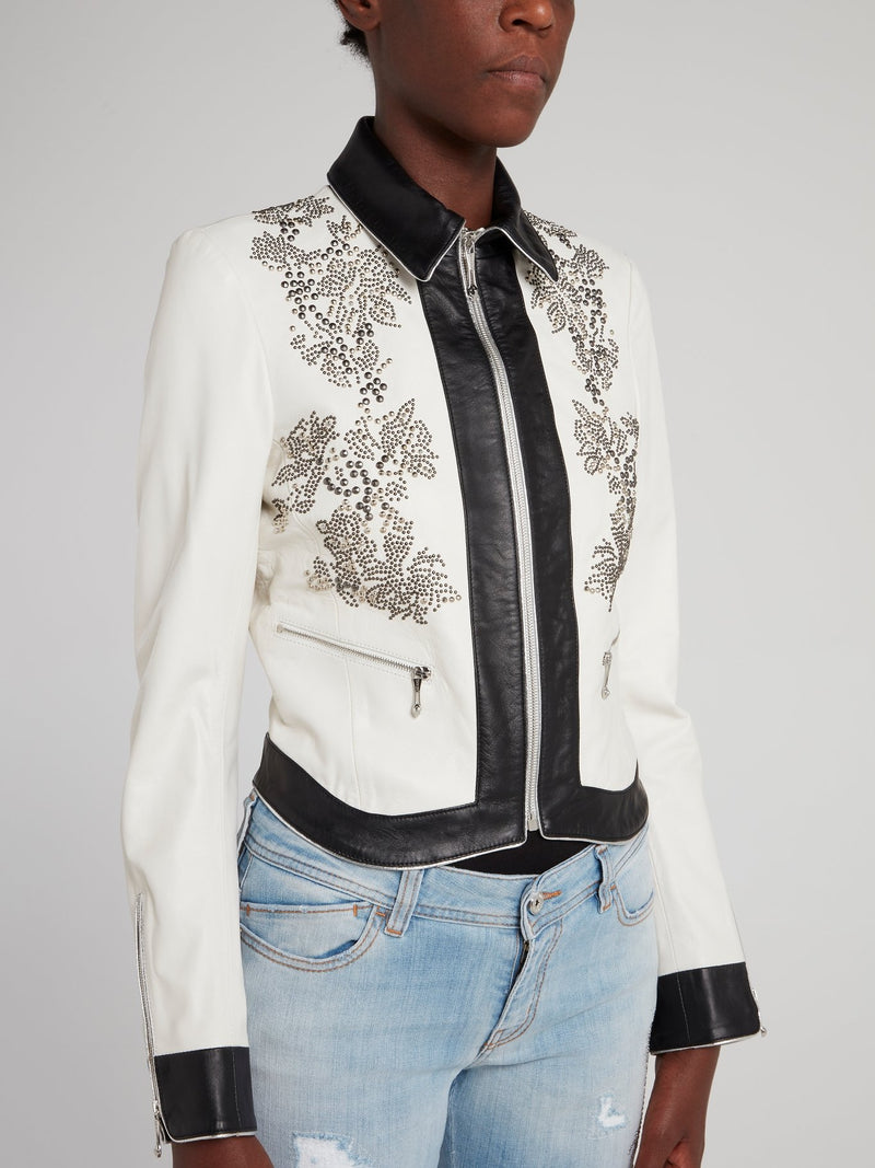White Collared Sports Jacket