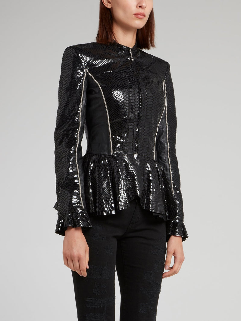 Snake Effect Peplum Leather Jacket